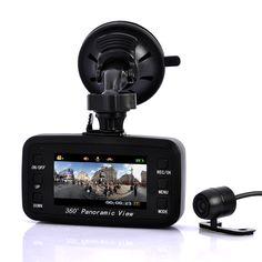 Road View - Car DVR Black Box Camera - 260 Degree Front Viewing Angle, 130 Degree Rear Viewing Angle