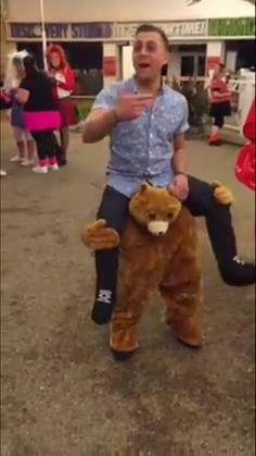 Fake legs and teddy bear!