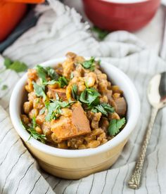 Spiced Sweet Potato Chana Dal Stew + A Challenge Giveaway! (Dishing Up the Dirt) Healthy Eating Recipes, Soup Recipes, Whole Food Recipes, Vegetarian Recipes, Cooking Recipes, Free Recipes, Vegetarian Dinners, Slow Cooking, Healthy Foods