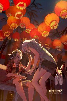 x Poster: Lantern Anime Art Girl, Manga Art, Pretty Art, Cute Art, Illustrations, Illustration Art, Arte Pop, Character Design Inspiration, Art Inspo