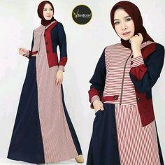 Frock Fashion, Abaya Fashion, Fashion Dresses, Women's Fashion, Dress Batik Kombinasi, Dress Paterns, Dress Pesta, Muslim Women Fashion, Hijab Fashion Inspiration