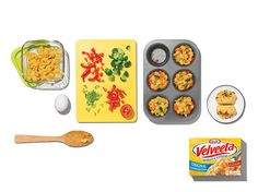 Cheesy VELVEETA Shells & Cheese Muffins – You have leftover VELVEETA Shells & Cheese from last night's meal? Use it to make these cheesy breakfast muffins! #PinThatTwist