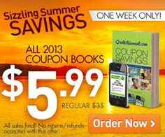 ENTERTAINMENT BOOKS ONLY $5.99 - HURRY!! I love these books and save $100s each year.  I normally get 2:)    Click here to snag this awesome deal ($35 VALUE) for only $5.99 - one week only!!