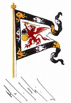 """Family arms of the Romanovs in the form of a flag (from the painter's """"Liber Amicorum""""). Signed by HSH Prince Michael Romanoff-Ilyinski. Medieval Banner, Shield Design, Family Crest, Flag Design, Renaissance Art, Silk Painting, Military History, Coat Of Arms, Herb"""
