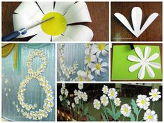 Chamomile flower wall art for party decoration,I made ​​them out of office paper A4 size, we do not go around the square.Fold all corners and all sides.Fol