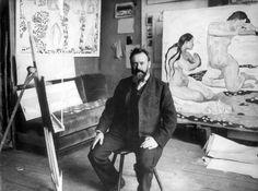 Ferdinand Hodler (well known 19th century Swiss painter) in his studio.
