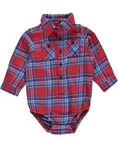 "OSHKOSH Baby Boys' ""Bunyan"" Bodysuit - Color RED, Size 24 MONTHS - (24M) B'GOSH - Plaid - Blue - Flannel - Onesie - Button-Front - Long Sleeve - Style #11468011. AVAILABLE WHILE SUPPLIES LAST! https://www.amazon.com/dp/B01LXB2B7O/ref=cm_sw_r_pi_dp_x_wacuybECXCP2Y"