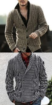 Men's Classic Retro Solid Button Knit Cardigan - Fashion Ideas Cardigan Style, Cardigan Fashion, Knit Cardigan, Mens Fashion Wear, Men's Fashion, Fashion Styles, Best Casual Shirts, Herren Style, Casual Sweaters