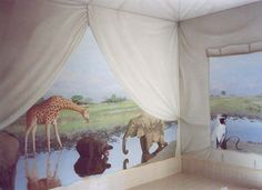 Christopher Winslow, decorative painter paints safari mural of tent looking out while animals appear through the flaps. Beautiful! www.winslowartanddesign.com