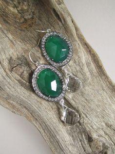 Green Agate Earrings Pave Set White Topaz by julianneblumlo, $358.00