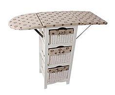 Mueble planchador de madera – blanco y Beige