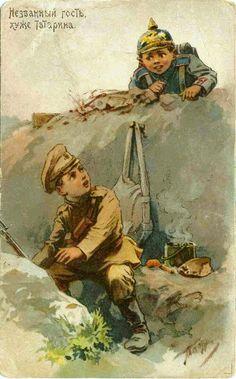"Russian postcard by Vladimir Taburin: ""An uncalled guest is worse than a Tatar."""