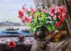CELAL GÜNAYDIN Turkish Artist Painter Watercolor - suluboya İstanbul, 50X35