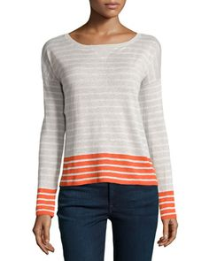 Aerona B Striped Linen Pullover Sweater, Dusty Pearl/Porcelain/Paradise Red by Joie at Neiman Marcus Last Call.