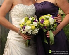 Green and white bouquet with bow and lapis/plum bridesmaid dress