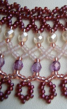 d_tail_netting_swap Bead Embroidery Patterns, Beaded Bracelet Patterns, Beaded Embroidery, Seed Bead Patterns, Beaded Bracelets, Necklaces, Beaded Wedding Jewelry, Handmade Beaded Jewelry, Lace Necklace