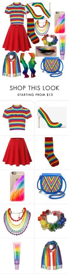 """Rainbow Style"" by sillyyivyy ❤ liked on Polyvore featuring Topshop, Aquazzura, Doublju, Casetify, Lili Radu, Tarina Tarantino, claire's, women's clothing, women and female"