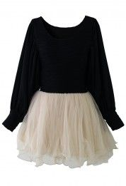 Crepe and Mesh Tulle Dress with Puff Sleeves