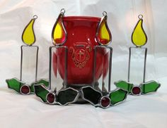 Handcrafted Stained Glass Christmas Candle by craftycleo on Etsy, $30.00