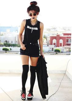 All black outfit. blackmilk tank top & cool shades. High black socks. British flag shoes.