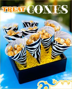 DIY: Paper Treat Cones + Display Popcorn cones with Dots? on the bottom of the holder? Zebra Party, Safari Party, Jungle Party, Circus Party, Jungle Safari, Circus Theme, Jungle Theme, Jungle Snacks, Circus Wedding