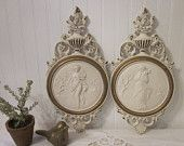 2 vintage Syroco Goddess plaques, Hollywood Regency Summer - Winter 2 Piece Set - Creamy White & Gold Glamour