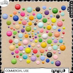 This pack includes 147 (7 unique in 21 colors) enamel dots in various sizes and colors. Great for building enamel scatters for your digi scrap kits!  Format includes: PNG  CU OK - 300 ppi for optimal print quality.  Follow me!