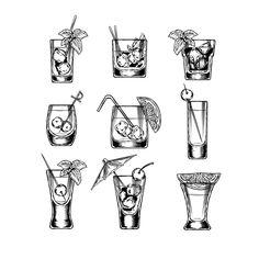 Buy Set of Vector Illustration Stemware by vectorpocket on GraphicRiver. Set of vector illustration of stemware. Glasses for alcohol Vector Design, Graphic Design, Cocktail Illustration, White Backdrop, Iphone Skins, Vintage Design, Clip Art, Bourbon, Vector Free
