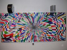 Timer Filler Collaborative Elementary Art Op-Art Mural (group project idea for students who finish their individual projects early) Group Art Projects, Collaborative Art Projects, School Art Projects, School Murals, 6th Grade Art, Middle School Art, Art Lessons Elementary, Art Classroom, Classroom Ideas