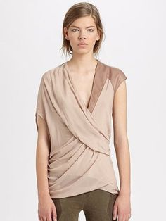 8b07c59e9bb646 Helmut Lang Draped Lush Voile Leather Accent Top Blouse New M