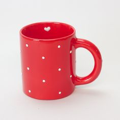 Hand Painted Mugs, White Ceramics, Red And White, Tea Cups, Dots, Tableware, Painting, Accessories, Products
