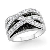 1.00 Carat Black and White Diamond Crossover Ring in Sterling Silver