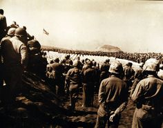 Battle for Iwo Jima, February-March 1945. Dedication of Fourth Marine Division Cemetery. Photographed March 15, 1945. U.S. Marine Corps photograph, now in the collections of the National Archives.