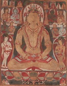 Buddha Amitayus Attended by Bodhisattvas. Tibet, 11th or early 12th century. Mineral and organic pigments on cloth. The Metropolitan Museum of Art, New York, Rogers Fund, 1989 (1989.284)  Though stylistically distinct, this painting of the Buddha Amitayus can be related to the Drathang wall painting. Amitayus is here shown as a massive, introspective figure sitting in a perfect state of meditation. He wears a jeweled crown with fluttering ribbons, and his many necklaces,  by Kurt Behrendt