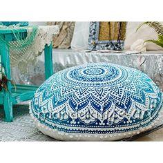 Bohemian Ombre Indian Mandala Pouf Floor Cushion Cover Blue 30 by MandalaLifeART Meditation Pillow, Meditation Rooms, Yoga Meditation, Large Floor Cushions, Oversized Ottoman, Yoga Decor, Best Flooring, Shabby, Lounge Seating