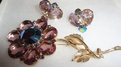 Vintage Amethyst & Blue Colored Faceted Glass Floral Petals With Rhinestones Aurora Borealis Marquis Stones Demi Set by TimsSecretTreasures on Etsy