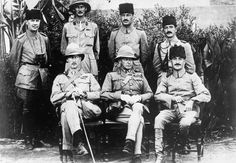MESOPOTAMIA CAMPAIGN 1914 - 1918 (Q 79344)   General Charles Vere Ferrers Townshend KCB DSO (1861-1924) with Khalil Pasha and staff shortly after the surrender of Kut. Front row: Colonel Parr, General Townshend, and Khalil Pasha. Back row: Naum Bay, Captain W E T Morland, Naum Hava, and Faud Bey.