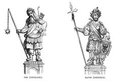 Statues of Gog (Gogmagog) and Magog (Corineus), 1886. Artist: Unknown Jonah And The Whale, Famous Portraits, Ancient Mysteries, Cryptozoology, Sea Monsters, Interesting History, Founding Fathers, London City, Little People