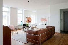 Karamell Leder Sofa Pendelleuchte rosa Metall