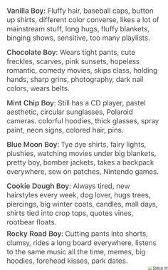 ✨types of boys - tumblr aesthetic✨ cr. @typesofboys on tumblr
