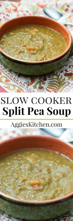 This slow cooker split pea soup is hearty and so good for you! A bowl of it will surely warm up any cold winter day.
