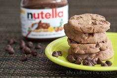 Nutella Shortbread Chocolate Chip Cookies - My Culinary Escapades Chocolate Chip Shortbread Cookies, Nutella Cookies, Chocolate Desserts, Nutella Chocolate, Chocolate Chips, Just Desserts, Delicious Desserts, Yummy Food, Baking Recipes