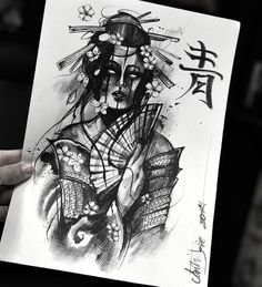 Geisha Tattoo Design, Sketch Tattoo Design, Tattoo Designs, Tattoo Artwork, Tattoo Drawings, Body Art Tattoos, Dragon Tattoo Full Back, Full Back Tattoos, Japanese Leg Tattoo