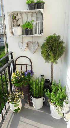 Wasze balkony i tarasy 2017 – inspiracje – Moje Własne Small Balcony Design, Small Balcony Decor, Porch And Balcony, Balcony Flowers, Balcony Plants, Balcony Garden, Rustic Outdoor Spaces, Kitchen Plants, Apartment Balconies