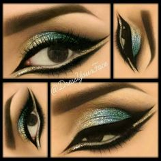 Gold, Blue, Teal Glitter Eyes By Tamanna R ❤ liked on Polyvore featuring beauty products, makeup, eye makeup and eyes