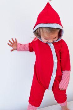 Kuschelanzug rot - petit cochon - Kinderkleidung, die mitwächst. Handarbeit aus Berlin!