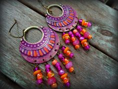 NEW Hand Painted Patina Sparkle Rustic Tribal Hot Pink Magenta Orange Chandelier Colorful Boho Earrings, Hippie Gypsy Boho Jewelry