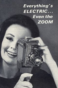 """Movie camera with """"electric zoom"""" ad, 1963 Vintage Advertisements, Vintage Ads, Vintage Posters, Old Cameras, Vintage Cameras, Love Film, Home Movies, Old Ads, Strike A Pose"""