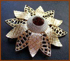 Vintage Brooch Pin Champagne Root Beer Rhinestone Gold Silver Metal Flower Design 2 3/4 VG via Etsy