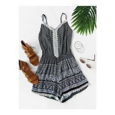 SheIn(sheinside) Aztec Printed Random Lace Trim Cami Romper ($8) ❤ liked on Polyvore featuring jumpsuits, rompers, navy, lace trim cami, navy jumpsuit, navy blue romper, navy rompers and navy blue camisole